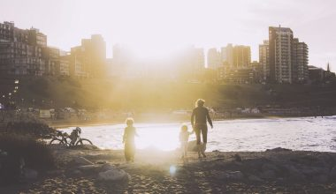Family walking over rocks by a lake with the sun beaming through skyscrapers