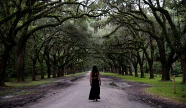 Woman walking down a dirt path with trees on either side